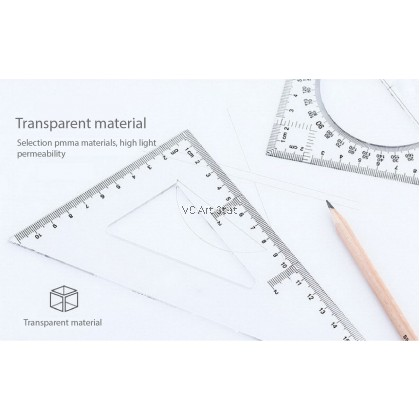 Students Math Degree Geometry Triangle Ruler 2 in 1 ( 30cm )