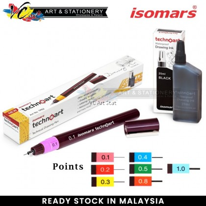 Isomars Technoart Technical Drawing Pen Point 0.1/0.2/0.3/0.4/0.5/0.8/1.0 And Waterproof Drawing Ink (Black)