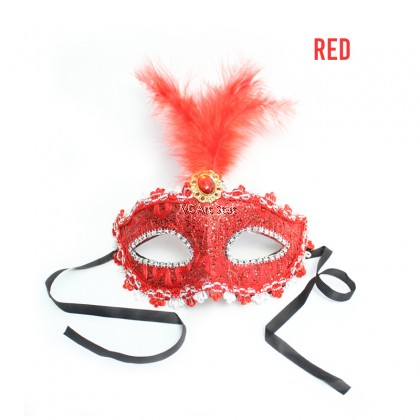 FEATHER MASQUERADE PARTY MASK - Per Piece